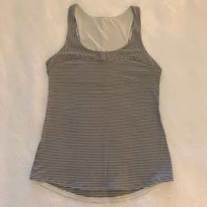 Lululemon grey and white striped tank